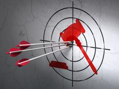 Law concept: arrows in Gavel target on wall background - stock illustration