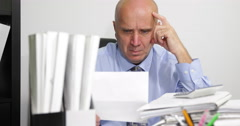 Account Manager Job Examine Files Thinker Calculate Business Financial Profit - stock footage