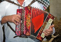 Russian folk instrument - the accordion. - stock photo
