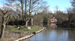 Flatford England river park mill buildings 4K Stock Footage