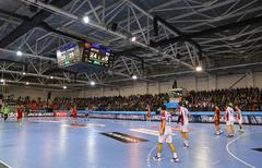 2015/16 EHF Champions League Last 16 Handball game Motor vs Veszprem - stock photo