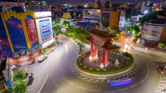 BANGKOK, THAILAND Traffic passes through Chinatown. - stock footage
