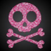 Vector pink sequin skull. Jolly Roger.  Eps 10. - stock illustration