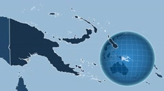 Papua New Guinea and Globe. Solids Stock Footage
