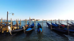 Gondolas in Saint Mark's square (San Marco) Stock Footage