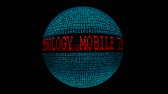 Mobile technology spinning globe Stock Footage