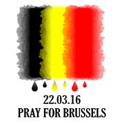 Pray for Brussels. Vector Belgium flag with tear drops and inscription. - stock illustration