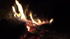 4k, Burning wood in fireplace and warmth of ambiance in wintertime -Dan Stock Footage