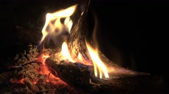 4k, Burning wood in fireplace and warmth of ambiance in christmas-Dan - stock footage