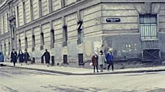 Vienna 1962: children walking in the street Stock Footage