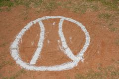 Creative on-deck circle on baseball field. - stock photo