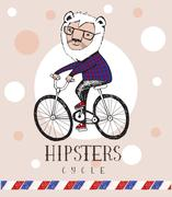 Stock Illustration of Hipster lion riding by bicycle