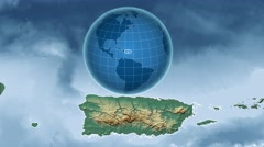 Puerto Rico and Globe. Relief - stock footage