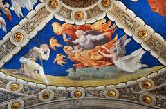 Fresco and painting of Raphael rooms (Stanze di Raffaello). Vatican city, Rom - stock photo
