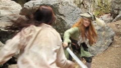 Pirate Girls Swordfight - stock footage