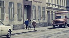Vienna 1962: children wallking in the street Stock Footage