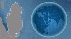 Qatar and Globe. Bumps Stock Footage