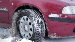 Car stuck in the snow. Stock Footage