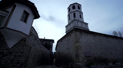Ancient stone wall with tower in Plovdiv Stock Footage