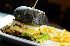 Charcoal burger - stock photo