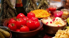 Food for tourists. National cuisine. Stock Footage
