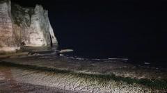 Etretat Night Coast , France. Stock Footage