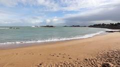 Sandy Spring Beach. Pink Granite Coast, France. Stock Footage