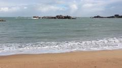 Sandy Spring Beach. Pink Granite Coast, France. - stock footage