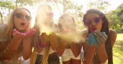 Multi-Ethnic Group Celebrating Holi Festival in Park Stock Footage
