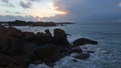Sunset Ocean Coast (France). Stock Footage
