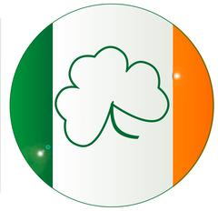 Irish Flag With Shamrock Button - stock illustration