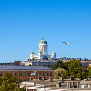Beautiful view of famous Helsinki Cathedral at sunny day, Helsinki, Finland Stock Photos