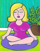 Young Woman Yoga Stock Illustration