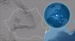 Romania and Globe. Bumps Stock Footage
