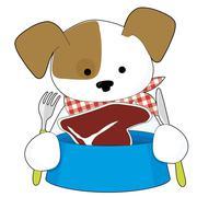 Puppy Eating Steak Stock Illustration