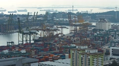 Ongoing operations at Singapore's busy container port. Video UltraHD Stock Footage