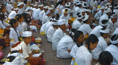 Many children parishioner and worshipers in white traditional temple clothes Stock Footage