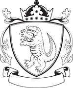 Alligator Standing Coat of Arms Black and White - stock illustration