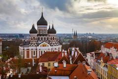 Toompea hill with Russian Orthodox Alexander Nevsky Cathedral, view from the - stock photo