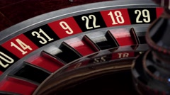 Roulette wheel starts running and stops Stock Footage
