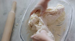 Baker prepares the dough. Stock Footage