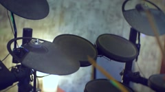 Man playing at electronic drums Stock Footage