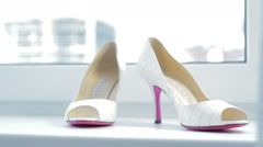 White shoes of the bride. Stock Footage