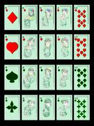 Playing cards on black Stock Illustration