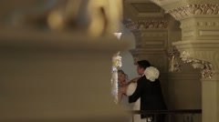 Bride and groom in the palace. Stock Footage