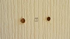 Installing Door Lock - Drilling Hole Stock Footage