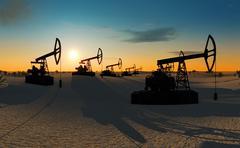 Oil pumps in the desert Stock Illustration