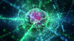 Human brain (with animated computer grid inside) in cyberspace. - stock footage