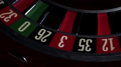 Usual roulette wheel running with white ball, top view Stock Footage