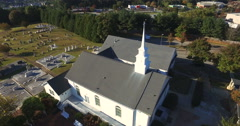 Church in front of Cemtary Stock Footage